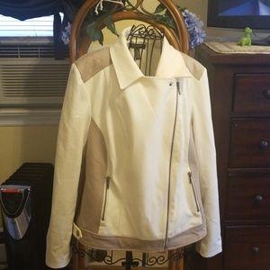 INC Women's Cream/Beige Asymmetrical Zipper Jacket